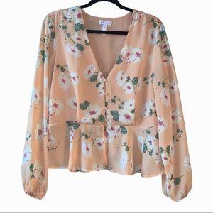 Leith floral button peplum blouse top. XL